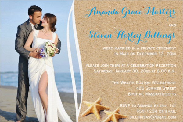 Photo Wedding Reception Invitation