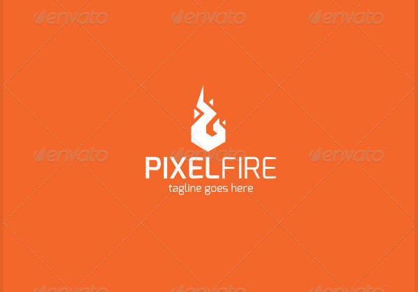 Pixel Fire Logo Design