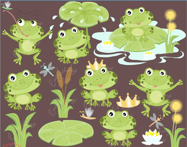 Playful Frogs Clipart