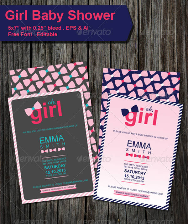 Printable Baby Shower Invitation for Girls