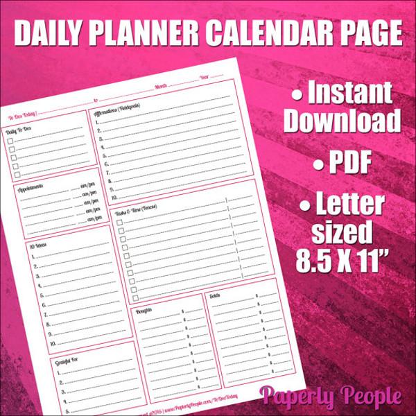 Printable Daily Calendar