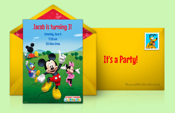 Printable Mickey Mouse Greeting Card Design