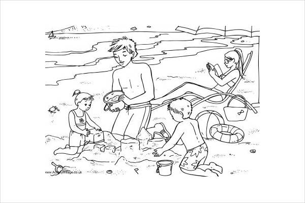 Printable Summer Beach Coloring Page