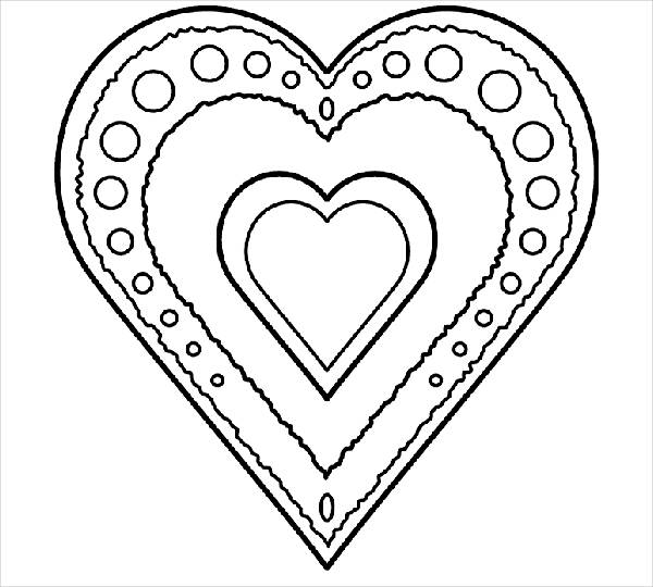 Printable Valantine Heart Coloring Page