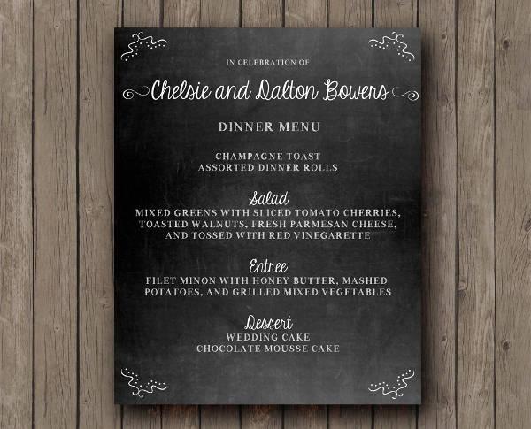 Printable Wedding Chalkboard Menu