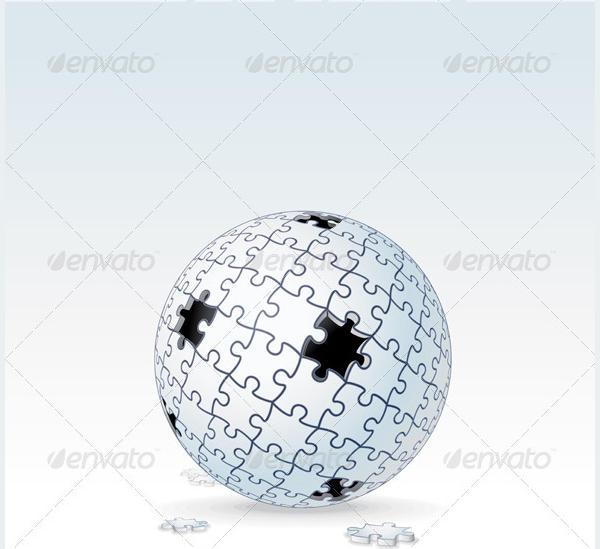 Puzzle Globe Vector