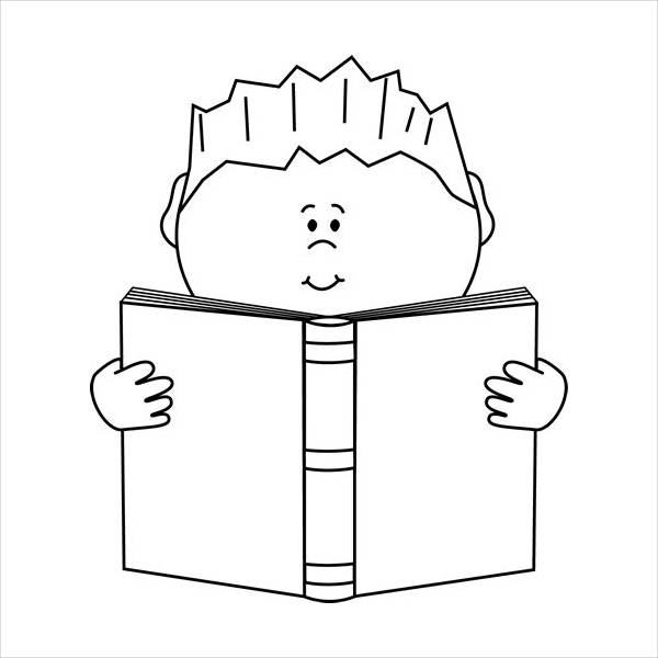 Reading Black and White Clipart