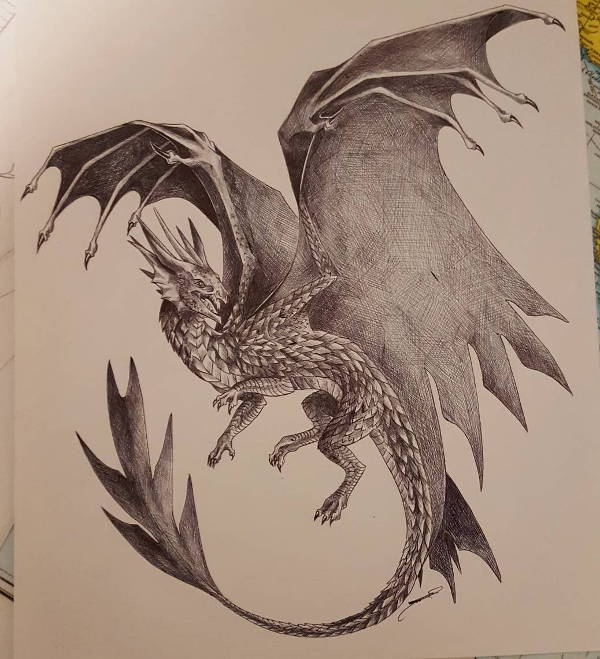 Realistic Dragon Drawing