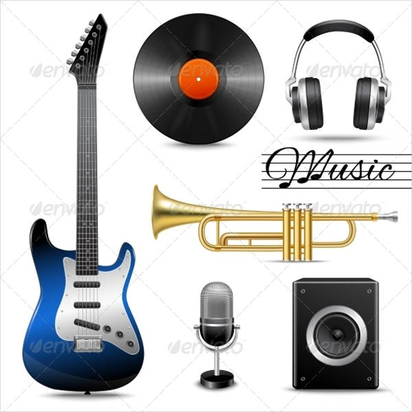 realistic music icons set
