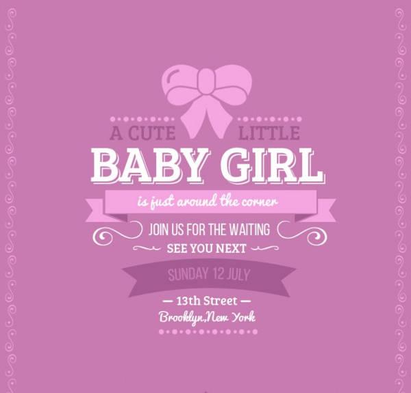 Retro Baby Shower Invitation for Girl