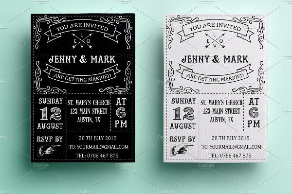 Retro Black and White Wedding Invitation