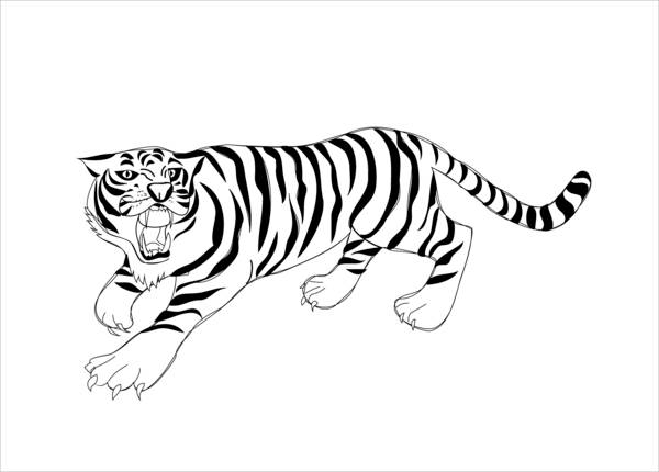 Roaring Tiger Coloring Page