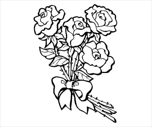 Rose Bouquet Coloring Page