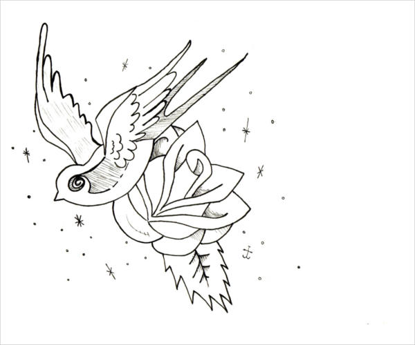 Rose Flower And Bird Coloring Page