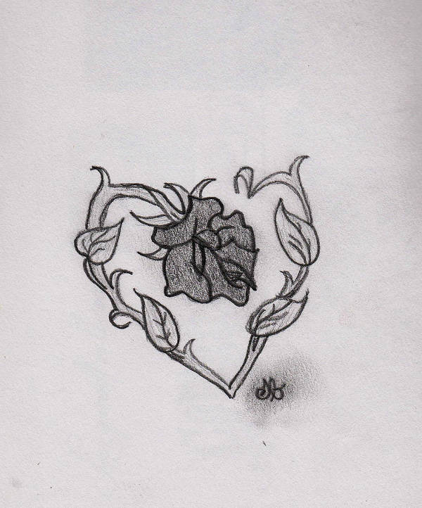Rose Heart Drawing