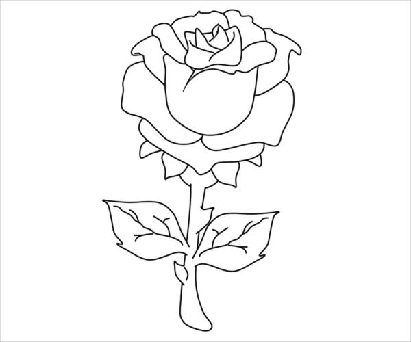 Free Rose Coloring Page