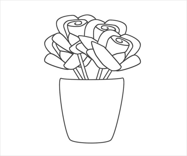 Rose Vase Coloring Page