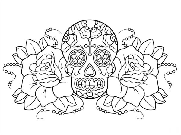 Rose and Skull Coloring Page