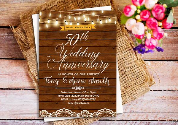 Rustic Anniversary Invitation