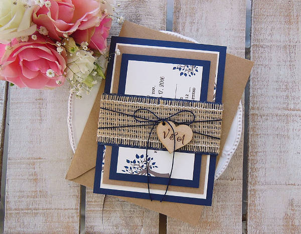 Rustic Custom Wedding Invitation