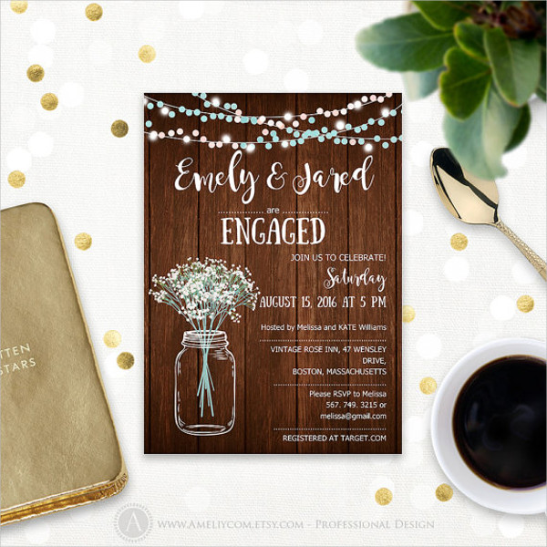 Rustic Engagement Invitation Design