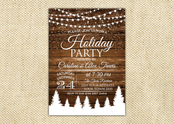 Rustic Holiday Party Invitation