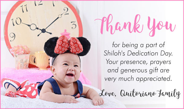 Sample Baby Thank You Card