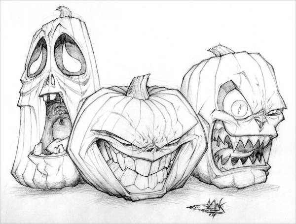 10 scary drawings jpg download for Awesome pumpkin drawings