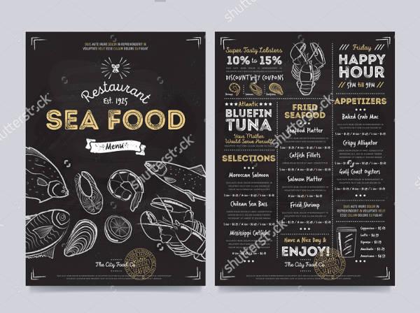 Sea Food Chalkboard Restaurant Menu