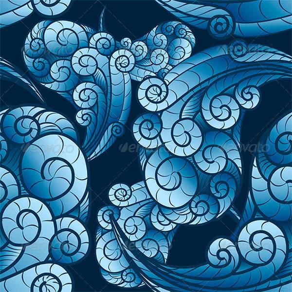 Seamless Wave Swirls Pattern