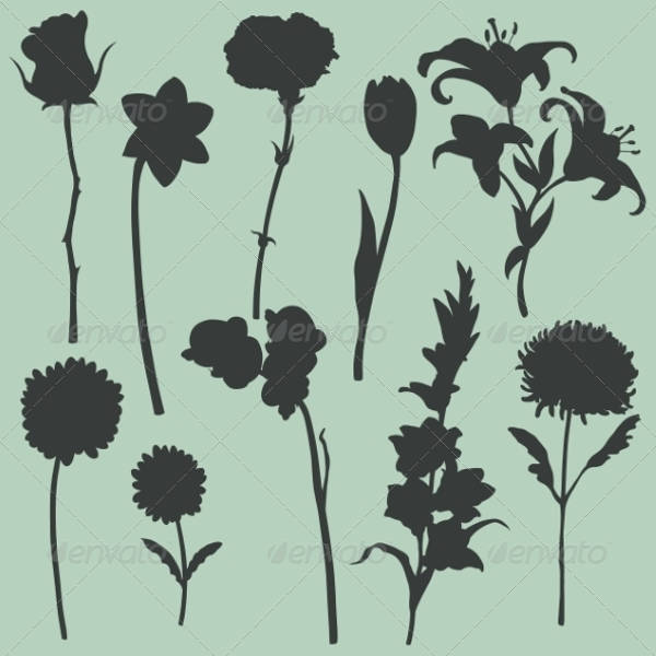 Set of Flower Silhouette