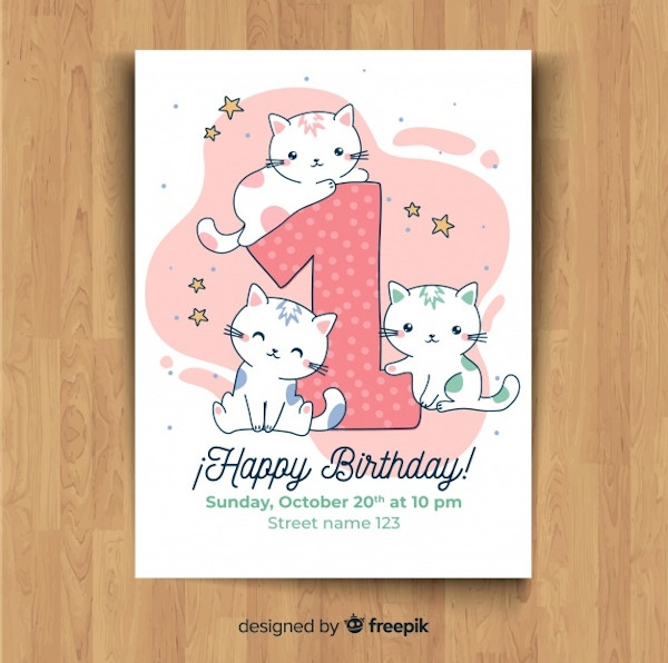Simple Hello Kitty Invitation Template
