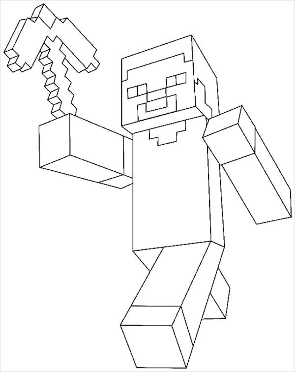 Simple Minecraft Coloring Page