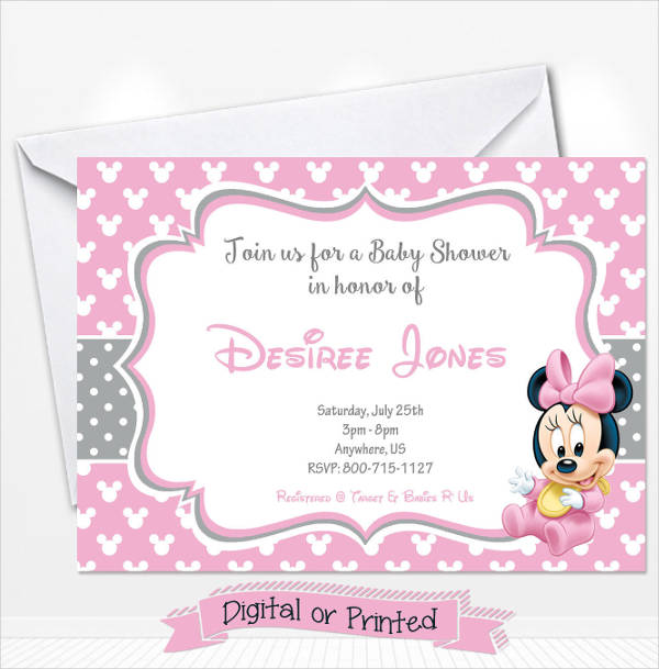 Simple Minnie Mouse Baby Shower Invitation
