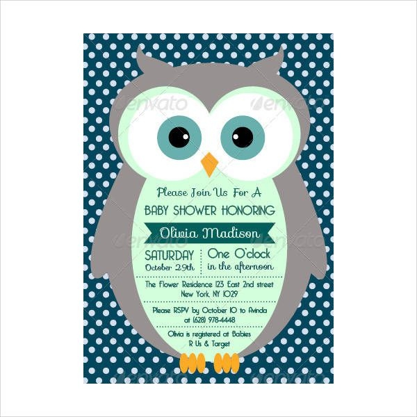 Simple Owl Baby Shower Invitation