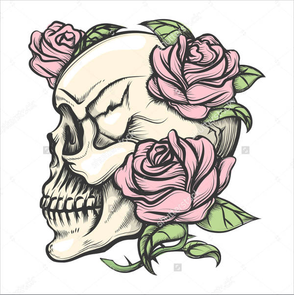Skull Drawing with Roses