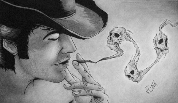 skull drawing with smoke