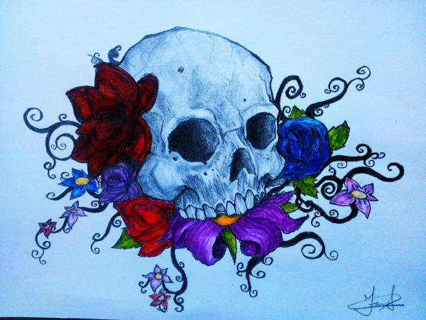 Skull Flower Drawings