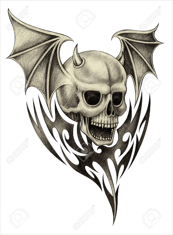 Skull Wings Drawing