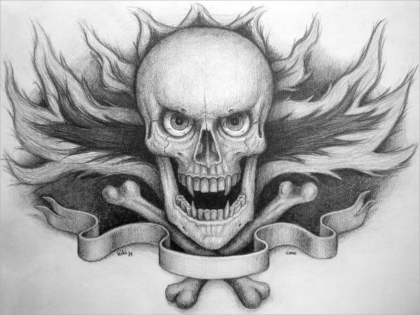 Skull and Fire Tattoo