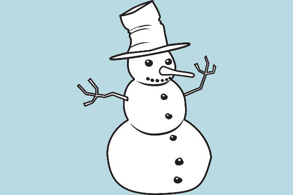 Snowman Black and White Clipart
