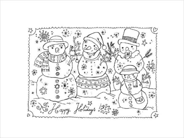 Snowman Holiday Coloring Page
