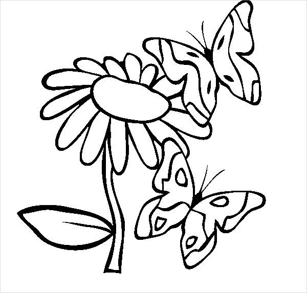 Spring Butterflies Coloring Page