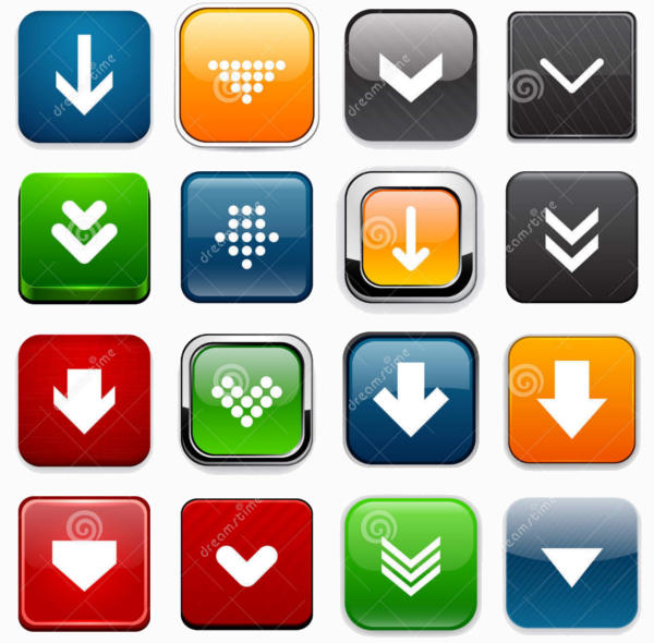 Square download icons