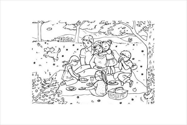 Summer Picnic Coloring Page for Adults