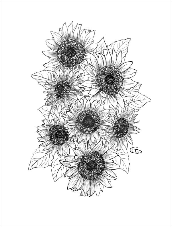 Sunflower Tattoo Drawing