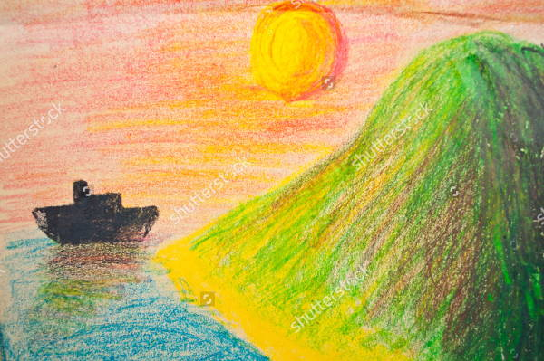 Sunset Drawing for Kids