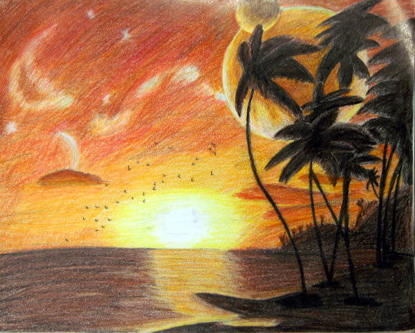 Sunset Pencil Drawing