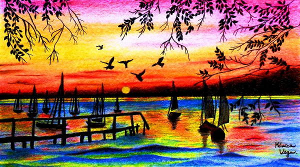 Sunset Scene Drawing