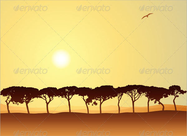 Sunset Tree Silhouette